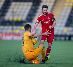 Livingston Declan Gallagher and Aberdeen's Graeme Shinnie. half time : Livingston 0 v 0 Aberdeen, SPFL Ladbrokes Premiership played 29/1/2018 at Livingston home ground, Tony Macaroni Arena.