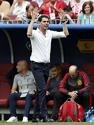 Spain coach Fernando Hierro during the 2018 FIFA World Cup Russia round of 16 match between Spain and Russia at the Luzhniki Stadium on July 01, 2018 in Moscow, Russia