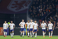 England players watch the scoreboard of England midfielder Jesse Lingard goal 0-1 during the Friendly match between Netherlands and England at the Amsterdam Arena, Amsterdam, Netherlands on 23 March 2018. Picture by Phil Duncan.