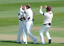Somerset's Abdur Rehman celebrates the wicket of Middlesex's Nick Gubbins. - Photo mandatory by-line: Harry Trump/JMP - Mobile: 07966 386802 - 29/04/15 - SPORT - CRICKET - LVCC Division One - County Championship - Somerset v Middlesex - Day 4 - The County Ground, Taunton, England.