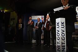 UKIP leader Nigel Farage (centre) and the candidates standing in the South Thanet by-election listen to the results of the 2015 South Thanet election count held in the Winter Gardens, Margate. Photo credit: Mary Turner