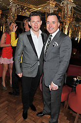 Left to right, NICK CANDY and DAVID FURNISH at the 50th birthday party for Patrick Cox held at the Café Royal Hotel, 68 Regent Street, London on 15th March 2013.