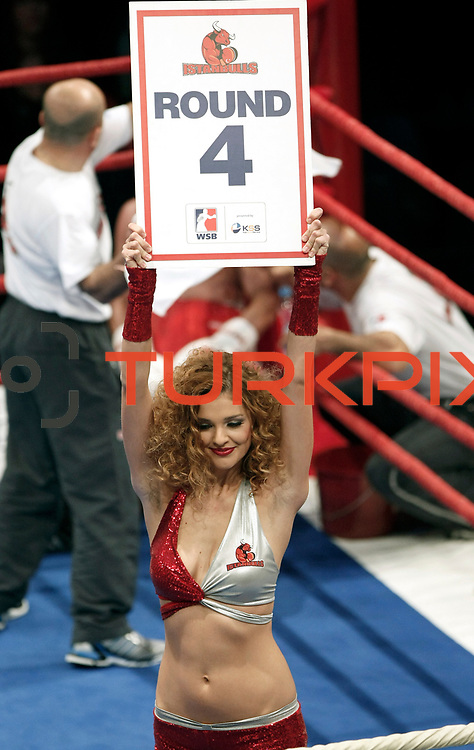 Show girls during their World Series of Boxing fight in matchday 5 at Ayhan Sahenk Arena in Istanbul, Turkey, Friday, January 28, 2011. Photo by TURKPIX