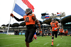 Netherlands players run out ahead of their game against Czech Republic hosted at the Sixways Stadium, Worcester - Photo mandatory by-line: Dougie Allward/JMP - 18/09/2016 - American Football - Sixways Stadium - Worcester, England - Netherlands v Czech Republic - IFAF European Championship