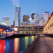 Downtown Seattle as seen from the waterfront piers