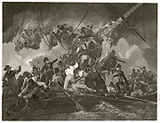 'French Revolutionary Wars 1792-1802; 'The Cutting Out of the French Corvette ''La Chevette'' by English Sailors, 21 July 1801. The French vessel was captured at Brest by  British boarding party. Engraving.'