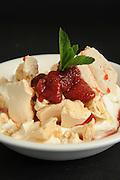 Vanilla Ice cream and strawberry sauce dessert