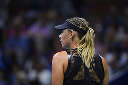 Maria Sharapova of Russia defeats Simona Halep of Romania in their women's singles match (6-4, 4-6, 6-3) on Day One of the 2017 US Open at the USTA Billie Jean King National Tennis Center on August 28, 2017 in the Flushing neighborhood of the Queens borough of New York City, NY, USA. The five-time major champion made her return from a 15-month ban for violating anti-doping rules in April, but was denied a wildcard for the French Open and then pulled out of Wimbledon qualifying through injury. Photo by Corinne Dubreuil/ABACAPRESS.COM