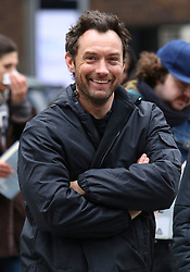 """Jude Law sports a fuller hairline while filming with costars Raffey Cassidy and Stacy Martin on the set of """"Vox Lux"""" in Midtown Manhattan. Raffey Cassidy will be playing a younger version of Natalie Portman who is set to play the lead role in the film. 12 Feb 2018 Pictured: Jude Law. Photo credit: LRNYC / MEGA TheMegaAgency.com +1 888 505 6342"""
