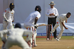 July 27, 2017 - Galle, Sri Lanka - Indian cricketer Mohammed Shami(R) delivers a ball during the 2nd Day's play in the 1st Test match between Sri Lanka and India at the Galle International cricket stadium, Galle, Sri Lanka on Thursday 27 July 2017. (Credit Image: © Tharaka Basnayaka/NurPhoto via ZUMA Press)