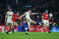 Owen Farrell of England kicks the ball out of play to end the match.  England v Wales, NatWest 6 nations 2018 championship match at Twickenham Stadium in Middlesex, England on Saturday 10th February 2018.<br /> p