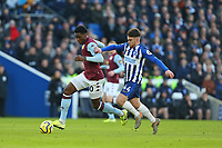 Football - 2019 / 2020 Premier League - Brighton & Hove Albion vs. Aston Villa<br /> <br /> Kortney Hause of Aston Villa under pressure from Aaron Connolly of Brighton during the Premier League match at The Amex Stadium Brighton  <br /> <br /> COLORSPORT/SHAUN BOGGUST