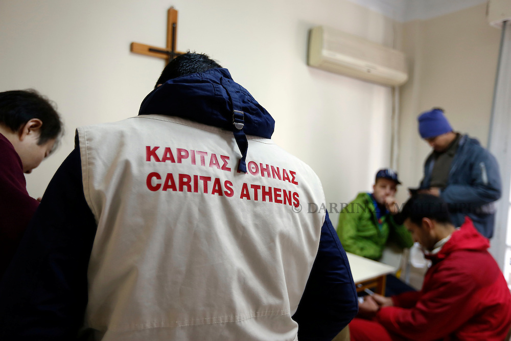 Caritas shelter for Migrants and refugees in Athens, Greece.<br /> Photo: Darrin Zammit Lupi