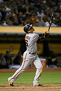 San Francisco Giants left fielder Gorkys Hernandez (66) watches a pop up against the Oakland Athletics at Oakland Coliseum in Oakland, California, on August 1, 2017. (Stan Olszewski/Special to S.F. Examiner)