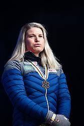 February 22, 2019 - Seefeld In Tirol, AUSTRIA - 190222 Bronze medalist Mari Eide of Norway in tears at the medal ceremony for women´s cross-country skiing sprint during the FIS Nordic World Ski Championships on February 22, 2019 in Seefeld in Tirol..Photo: Joel Marklund / BILDBYRÃ…N / kod JM / 87883 (Credit Image: © Joel Marklund/Bildbyran via ZUMA Press)