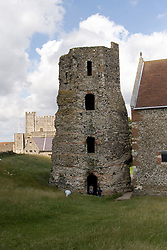 Dover/Kent/England - The Castle. St. Mary in Castro and Pharos. Dover is a major port on the south-east coast of England. Situated in the county of Kent, it faces France across the English Channel.