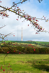 Emley Moor Transmitter mast West Yorkshire England. Begun in 1969 it is a 275 meter (902ft) tall tapered cylindrical pillar made of reinforced concrete topped with as55 Meter (180ft) lattice steel mast. It stands 1084ft tall and is the the tallest freestanding structure in the UK. In 2002 the tower became a Grade II listed building for being of significant architectural or historic interest. The tower is not open to the public<br /> <br /> Beside Emley moor Grade II listed mast is a temporary structure supported by dozens of steel cables which was erected so that vital upgrade work can be carried out on the original tower. <br /> <br /> www.pauldaviddrabble.co.uk<br /> All Images Copyright Paul David Drabble - <br /> All rights Reserved - <br /> Moral Rights Asserted -