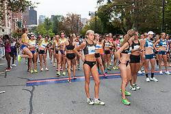 Tufts Health Plan 10K for Women elite women runners await the start of race, Jordan Hasay wins