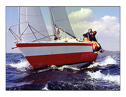 The Clyde Cruising Club's 1977 Tomatin Trophy the first Scottish Series held at Tarbert Loch Fyne.  An overnight race from Gourock to Campbeltown then on to Olympic Triangles in Loch Fyne. ..K5527  Hydrostar  Frank Main