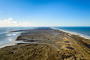 Nederland, Friesland, Terschelling, 28-02-2016; overzicht Terschelling vanuit het westen, met in de voorgrond de slenken van de Boschplaat. Links Terschellingerwad, rechts Noordzee.<br /> Wadden island Terschelling from the West, Wadden sea. <br /> luchtfoto (toeslag op standard tarieven);<br /> aerial photo (additional fee required);<br /> copyright foto/photo Siebe Swart