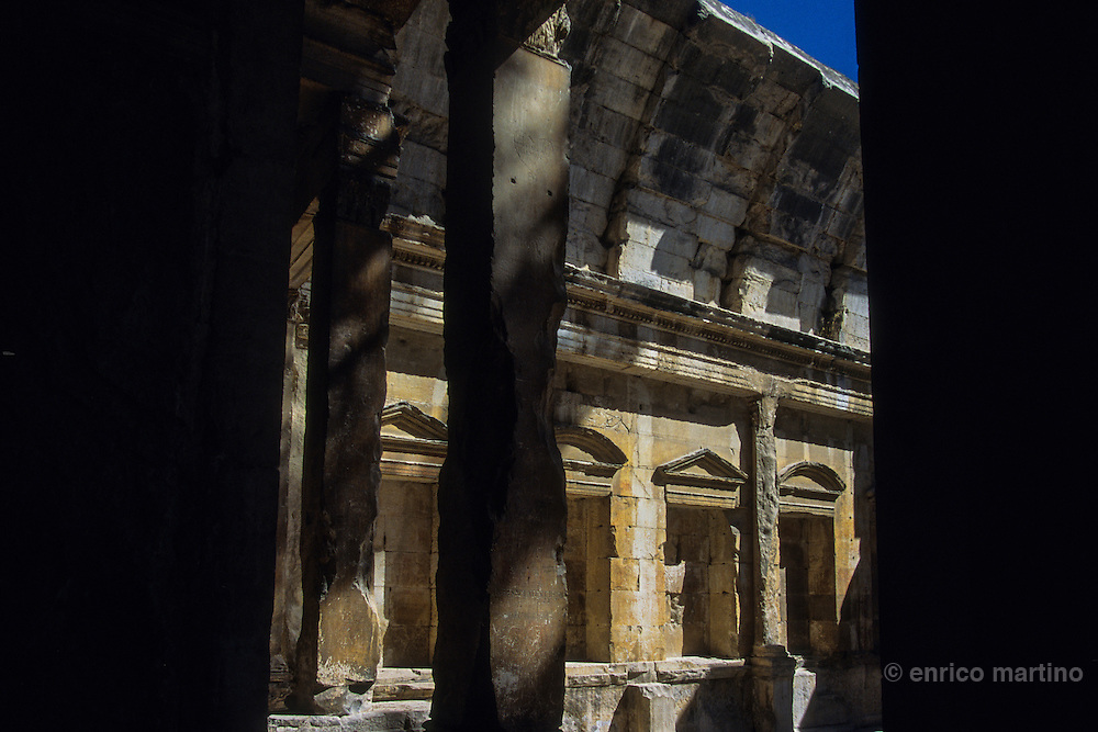 """Nimes, Temple of Diane. This """" temple"""" date from 2nd apr J.C. and was still whole in the middle of the 16th century, transformed into church. It constitutes the only monument partly preserved of a Roman sanctuary dedicated to the imperial worship."""