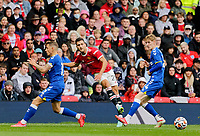 Football - 2021 / 2022 Pre-Season Friendly - Manchester United vs Everton - Old Trafford - Saturday 7th August 2021<br /> <br /> Diogo Dalot of Manchester United gets in his shot past Lucas Digne  and Anthony Gordon of Everton, at Old Trafford.<br /> <br /> COLORSPORT/ALAN MARTIN