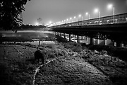25th May 2014, Yamuna River, New Delhi, India. An elephant ridden by a handler walks back towards the handler's makeshift camp on the Yamuna Bank near the ITO bridge at dusk<br /> <br /> Elephant handlers (Mahouts) eke out a living in makeshift camps on the banks of the Yamuna River in New Delhi. They survive on a small retainer paid by the elephant owners and by giving rides to passers by. The owners keep all the money from hiring the animals out for religious festivals, events and weddings, they also are involved in the illegal trade of captive elephants. The living conditions and treatment of elephants kept in cities in North India is extremely harsh, the handlers use the banned 'ankush' or bullhook to control the animals through daily beatings, the animals have no proper shelters are forced to walk on burning hot tarmac and stand for hours with their feet chained together. <br /> <br /> PHOTOGRAPH BY AND COPYRIGHT OF SIMON DE TREY-WHITE + 91 98103 99809<br /> email: simon@simondetreywhite.com<br /> Photographer in Delhi