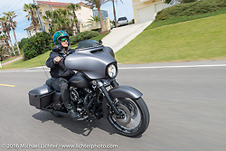 Mandy Campbell Rossmeyere of Rossmeyer Harley Davidson riding Highway A1A along the coast during Daytona Bike Week 75th Anniversary event. FL, USA. Thursday March 3, 2016.  Photography ©2016 Michael Lichter.