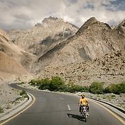 A motorcyle on the Karakoram Highway. Gojal region, upper Hunza.