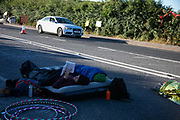 New Preston Road, Lancashire, United Kingdom, June 29th 2018.  Block Around the Clock - a fourty eight hours of event with work shops, yoga, sleeping and anti-fracking campaigning in front of the gates to Cuadrillas fracking site in Lancashire. The event was organised by anti-fracking campaigners in spite of an injunction granted to Cuadrilla to prevent protest against the impending shale gas exploitation. The Cuadrilla site in Lancashire in a highly contested site, almost ready to drill for gas.