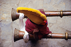 Nepal, Tengboche Monastery. Yellow-hat lama (Buddhist monk) carrying long horns during religious procession.
