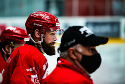 Andrej Hebar during Alps League Ice Hockey match between HDD SIJ Jesenice and Migross Supermercati Asiago Hockey on April 17, 2021 in Ice Arena Podmezakla, Jesenice, Slovenia. Photo by Peter Podobnik / Sportida