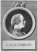 Jean le Rond D'Alembert (1717-1783) French philosopher, mathematician and encyclopedist. [18th century]. Collaborated with Denis Diderot (1713-1784) on the 'Encyclopedie' of which he was scientific editor until 1758 and for which he wrote the 'Discours Preliminaire' declaring the philosophy of the French Enlightenment. Engraving by LJ Cathelin (1738-1804) after CN Cochin (1715-1790).