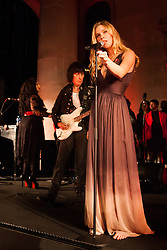 Covent Garden, London, October 30th 2014. Multi-platinum selling artist Joss Stone performs two numbers with legendary guitarist Jeff Beck as part of the events in Covent Garden where London Poppy Day events were held as the Royal British Legion raises funds, with over £1 million expected to be raised. PICTURED: Joss Stone barefoot on stage.