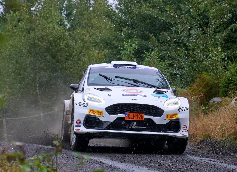 2021-08-27 ÄLMHULT<br /> South Swedish Rally 2021<br /> <br /> PG Andersson<br /> Anders Fredriksson<br /> Årjängs MK<br /> Ford Fiesta<br /> <br />  ***betalbild***<br /> <br /> Foto: Peo Möller<br /> <br /> South Swedish Rally 2021, rally, rallybil, grusväg, tävling, Älmhult, SM, deltävling, regn, Sydsvenska Rallyt 2021