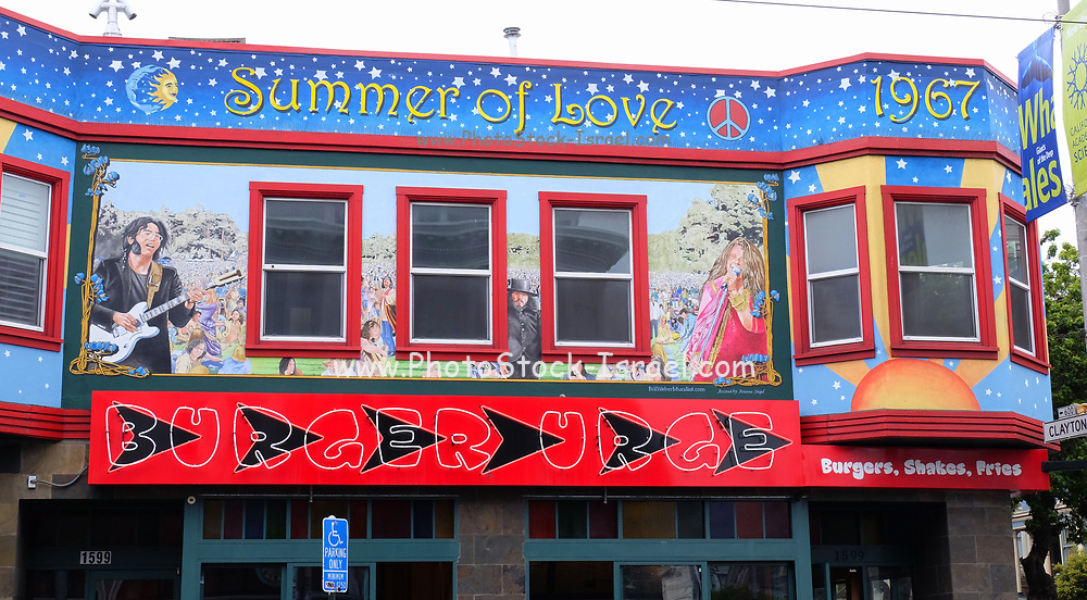Mural on the exterior of the Burger Urge hamburger restaurant on 1599 Haight St, Haight Ashbury, San Francisco CA