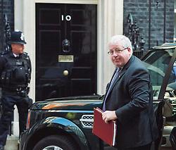 © Licensed to London News Pictures. 07/09/2015. Westminster, UK. Transport minister PATRICK MCLOUGHLIN arriving at 10 Downing Street on September 7, 2015. .  Photo credit: Ben Cawthra/LNP