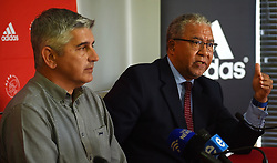 Cape Town-180727 Advocate Norman Arendse who was leading the Ajax Cape Town legal team in the Tendai Ndoro case against the Premier Soccer league,addressing the media about the decision to withdraw their appeal against judge Mukhari's judgement.Ajax will be competing in the NFD next season,a decision that was taken by the team today.In the middle is Ari Efstathiou the team's CEO .photograph:Phando Jikelo/African News Agency/ANA