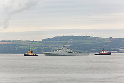 Pictured: HMS Forth, the navy's newest warhip arrive at North Queensferry<br /> <br /> Dave Cullen | EEm 15 August 2019