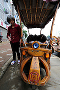 LIUZHOU, CHINA - MAY 19: (CHINA OUT) <br /> <br /> Wooden Three-wheeled Vehicle<br /> <br /> Wei Guirong's second home-made three-wheeled vehicle is seen on May 19, 2014 in Liuzhou, Guangxi Province of China. Wei Guirong, 66, has made three wooden three-wheeled vehicles for grandchildren, and the vehicles are made entirely from wood, apart from the engine, wheels and some electronic parts. He was in charge of maintaining agricultural machinery when he was younger. <br /> ©Exclusivepix