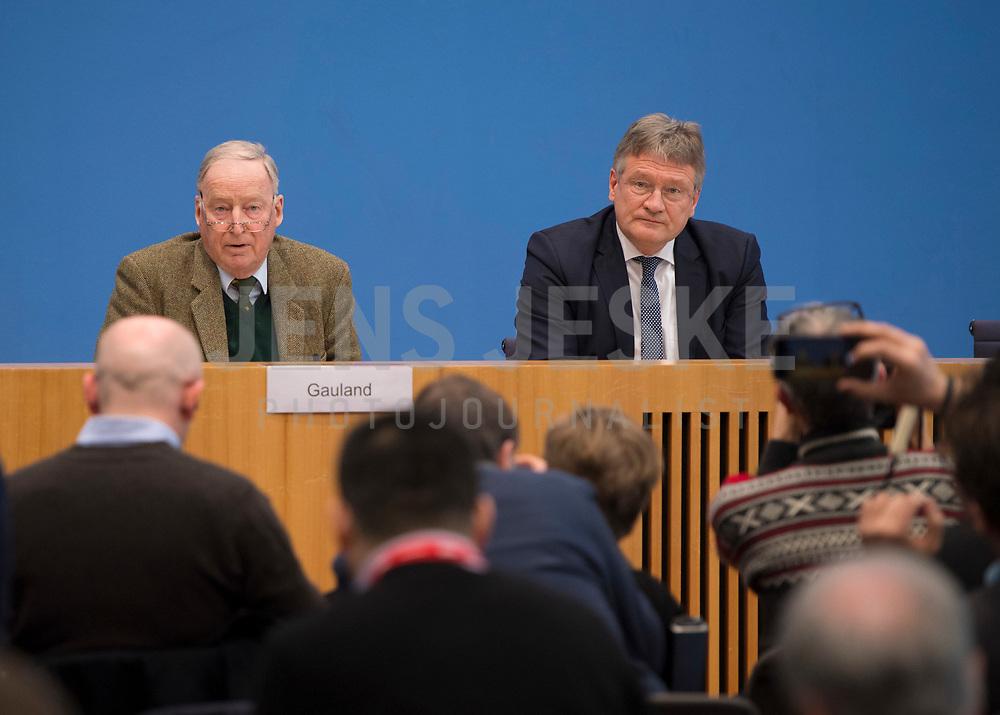 DEU, Deutschland, Germany, Berlin, 12.03.2018: Alexander Gauland und Jörg Meuthen, Alternative für Deutschland (AfD), in der Bundespressekonferenz zum Koalitionsvertrag von CDU, CSU und SPD.