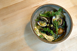 Rustic pork, seaweed and clam broth, with shungiku, yuba and potato, at The Progress restaurant, Tuesday, Dec. 15, 2015, in San Francisco, Calif. (Photo by D. Ross Cameron)
