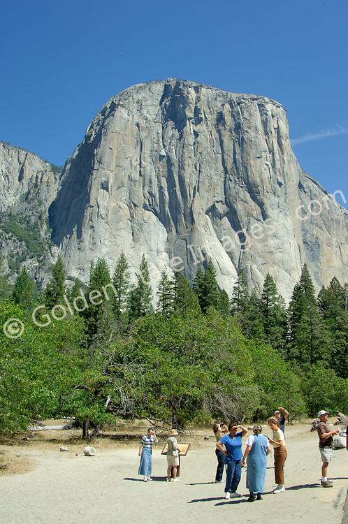 Park visitors view El Capitan from Yosemite Valley.