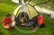 Outdoor recreation, Young Adult Couples Tent Camp by Cononoquinet Creek, Cumberland Co., PA