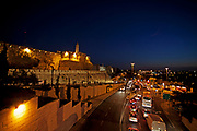 Jerusalem, Old City. The illuminated walls at night Tower of David in centre left
