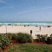 Vakantie Miami Amerika, strand North Miami Beach, blauwe zee