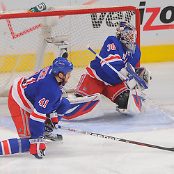 April 30, 2012: New York Rangers goalie Henrik Lundqvist (30) makes a save during first period action in Game 2 of the NHL Eastern Conference Semifinals between the Washington Capitals and New York Rangers at Madison Square Garden in New York, N.Y.