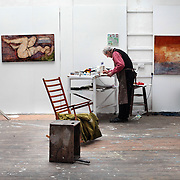 Artist John Emanuel in Studio 5. He moved in to the studio formerly occupied by Patrick Heron and Ben Nicholson because his studio had become to derelict to work in.
