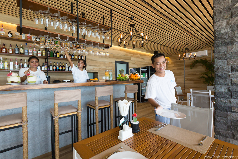 Lower restaurant bar at Sea and Sky beach front restaurant located on Ban Tai beach, Koh Samui, Thailand