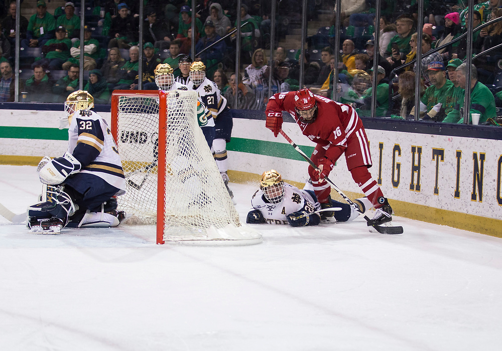February 15, 2019:  Notre Dame forward Jack Jenkins (28) and Wisconsin forward Tarek Baker (16) battle for the puck behind the net during NCAA Hockey game action between the Wisconsin Badgers and the Notre Dame Fighting Irish at Compton Family Ice Arena in South Bend, Indiana.  Wisconsin defeated Notre Dame 2-1.  John Mersits/CSM